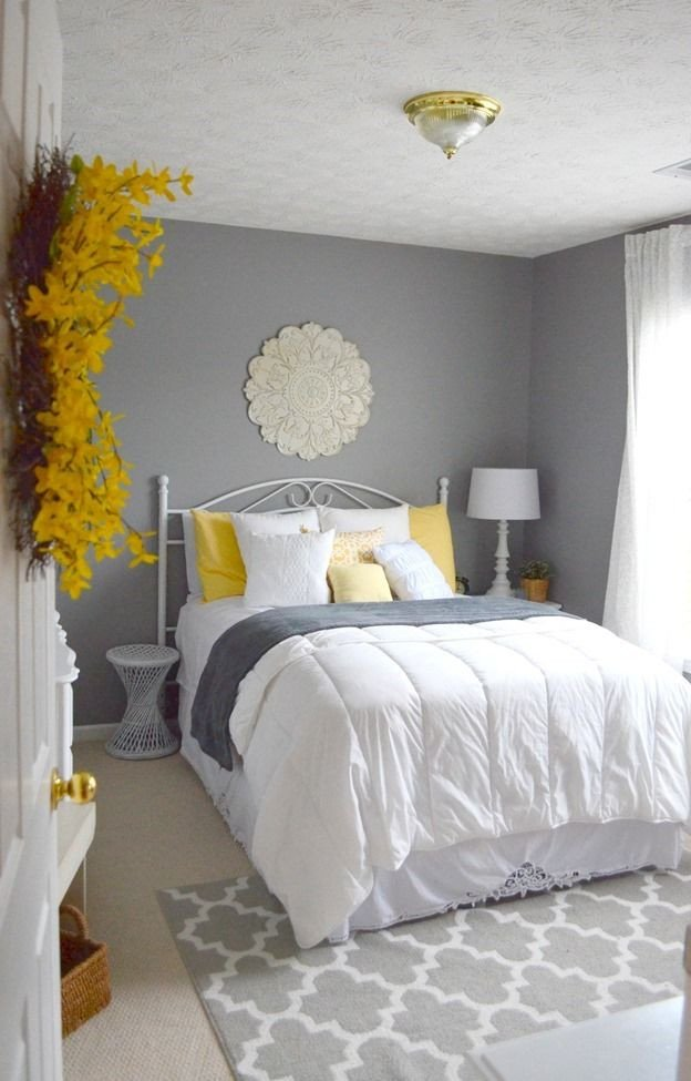 Yellow and Grey Room Decor Beautiful Guest Bedroom Gray White and Yellow Guest Bedroom Frugal Homemaker