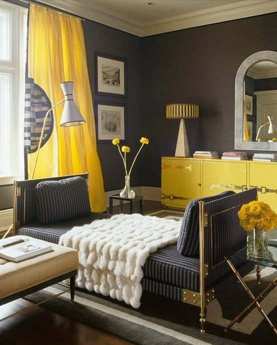 Yellow and Grey Room Decor Unique Yellow & Gray Living Room Design with Charcoal Gray Walls Paint Color Canary Yellow Silk