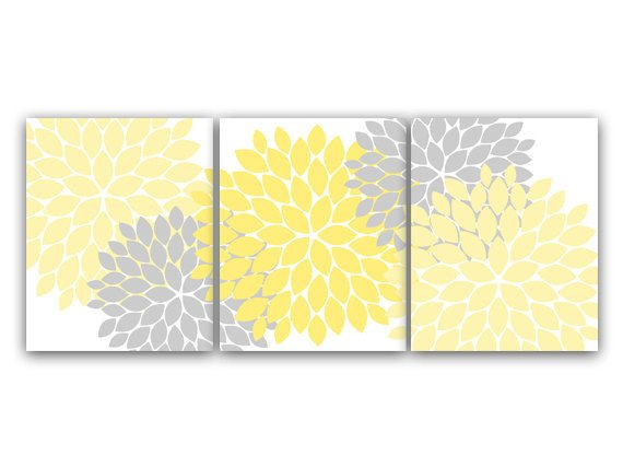 Yellow and Grey Wall Decor Awesome Home Decor Wall Art Yellow and Gray Flower Burst Art Canvas