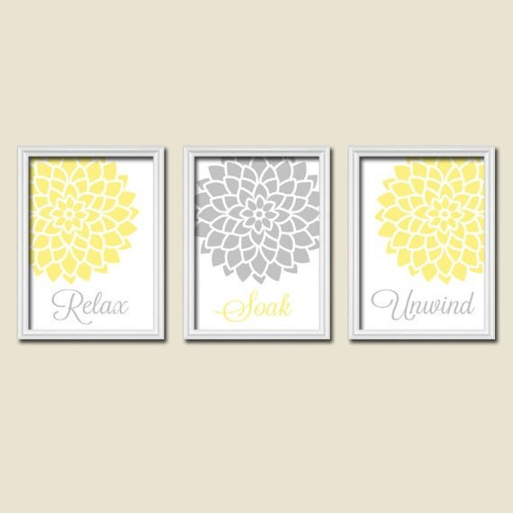 Yellow and Grey Wall Decor Beautiful Yellow Gray Bathroom Wall Art Canvas or Prints by Trmdesign