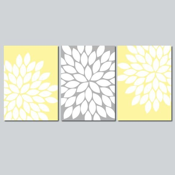 Yellow and Grey Wall Decor Best Of Yellow Gray Wall Art Bedroom Flower Canvas or