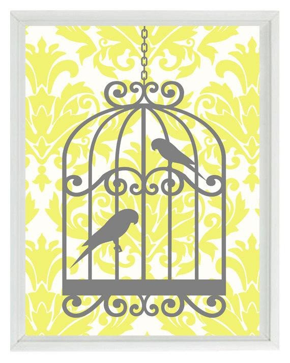 Yellow and Grey Wall Decor Fresh Birds Wall Art Print Yellow Gray Decor Damask Bird Cage