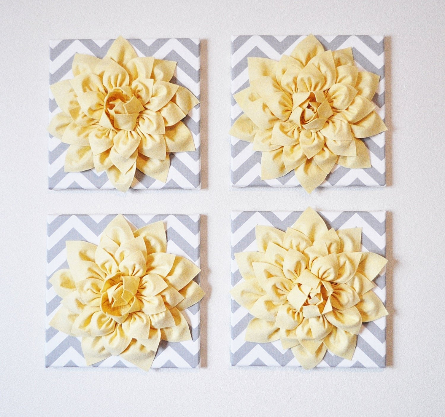 Yellow and Grey Wall Decor Fresh Wall Decor Set Of Four Light Yellow Dahlias On Gray and White