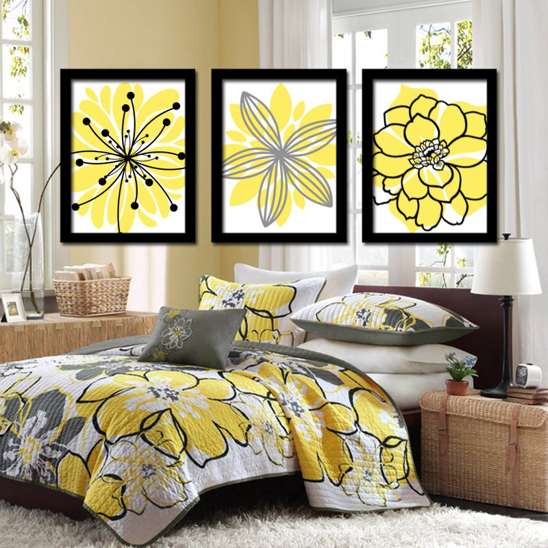Yellow and Grey Wall Decor Fresh Yellow Black Wall Art Canvas or Prints Charcoal Gray Flower