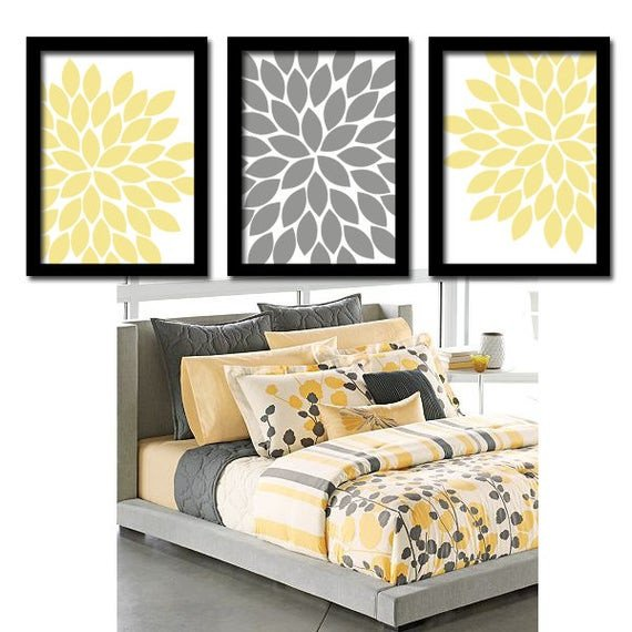 Yellow and Grey Wall Decor Fresh Yellow Gray Wall Art Bedroom Canvas or Prints by Trmdesign On Etsy