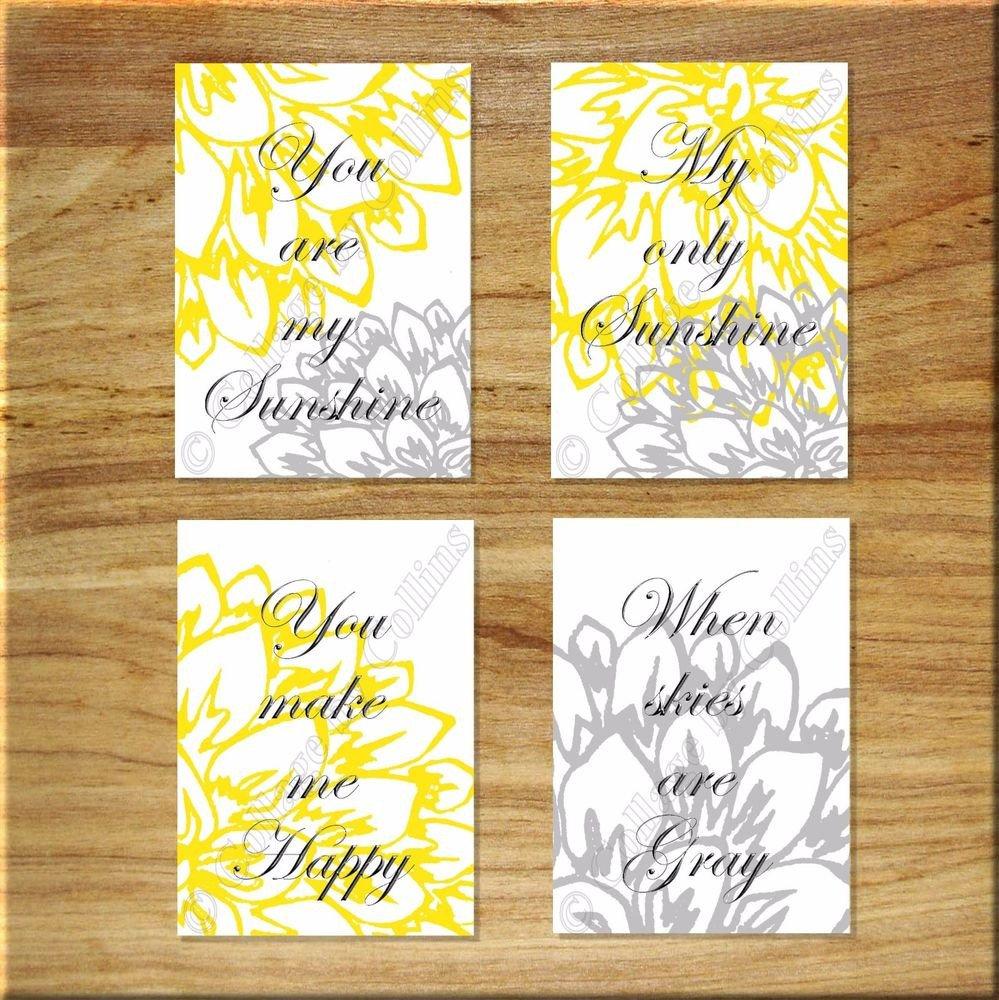 Yellow and Grey Wall Decor Fresh Yellow Gray Wall Art Print Nursery Decor You are My Sunshine Peony Floral Flower