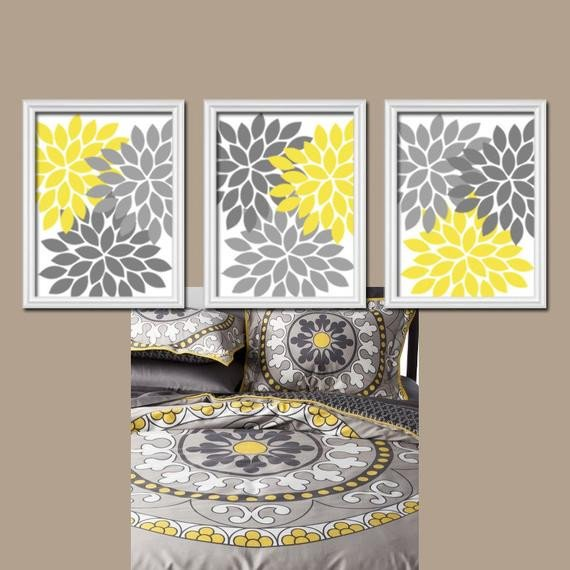 Yellow and Grey Wall Decor Inspirational Yellow Gray Wall Art Canvas or Prints Bedroom by Trmdesign