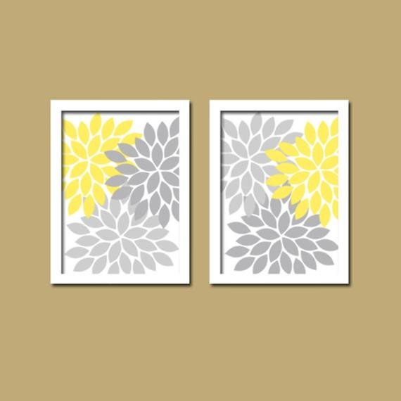 Yellow Gray Wall Art Yellow Gray Bathroom Wall Art by TRMdesign