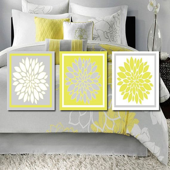 Yellow and Grey Wall Decor Unique Yellow Gray Wall Art Bathroom Wall Decor Bedroom Flower Wall Art Flower Burst