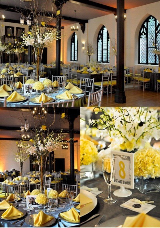 Yellow and Grey Wedding Decor Awesome Love the Centerpieces but I Would Add Sunflowers Wedding Party Ideas In 2019