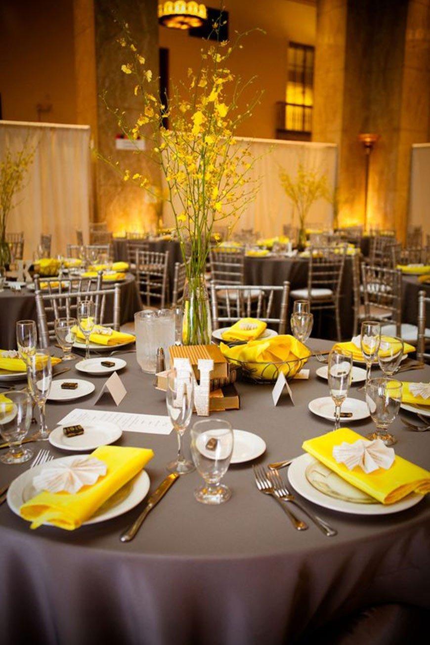 Yellow and Grey Wedding Decor Beautiful Grey Wedding theme Wedding Ideas by Colour