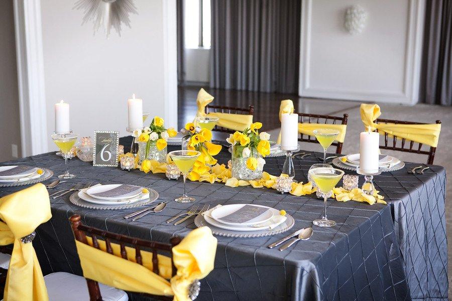 Yellow and Grey Wedding Decor Fresh Modern Yellow & Slate Wedding Inspiration