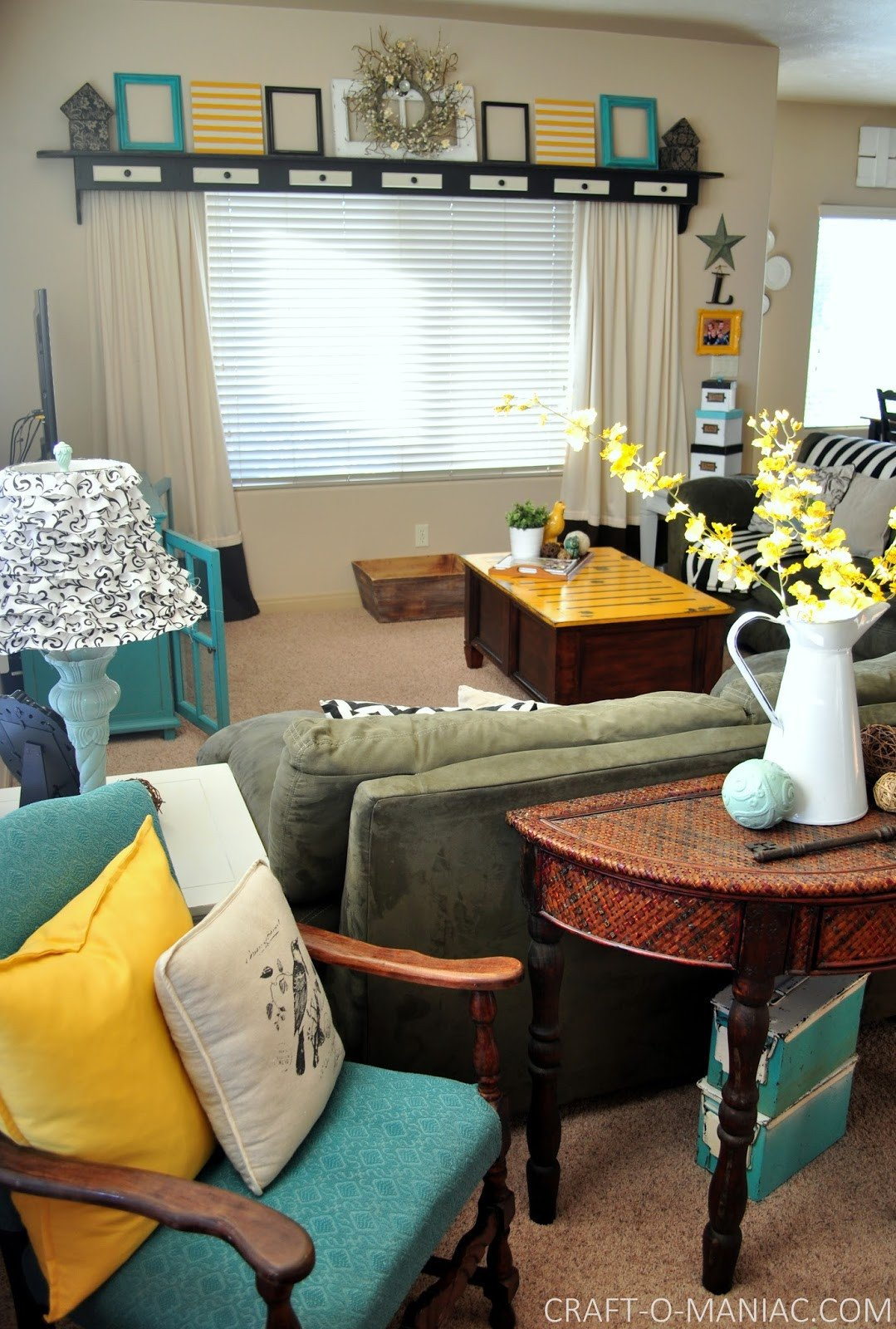 Yellow and Turquoise Home Decor Awesome Home Decor My Turquoise and Yellow Family Room Craft O Maniac