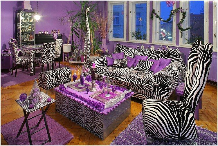 Zebra Decor for Living Room Luxury Zebra Stripes & Purple Accent Living Room S and for Tumblr