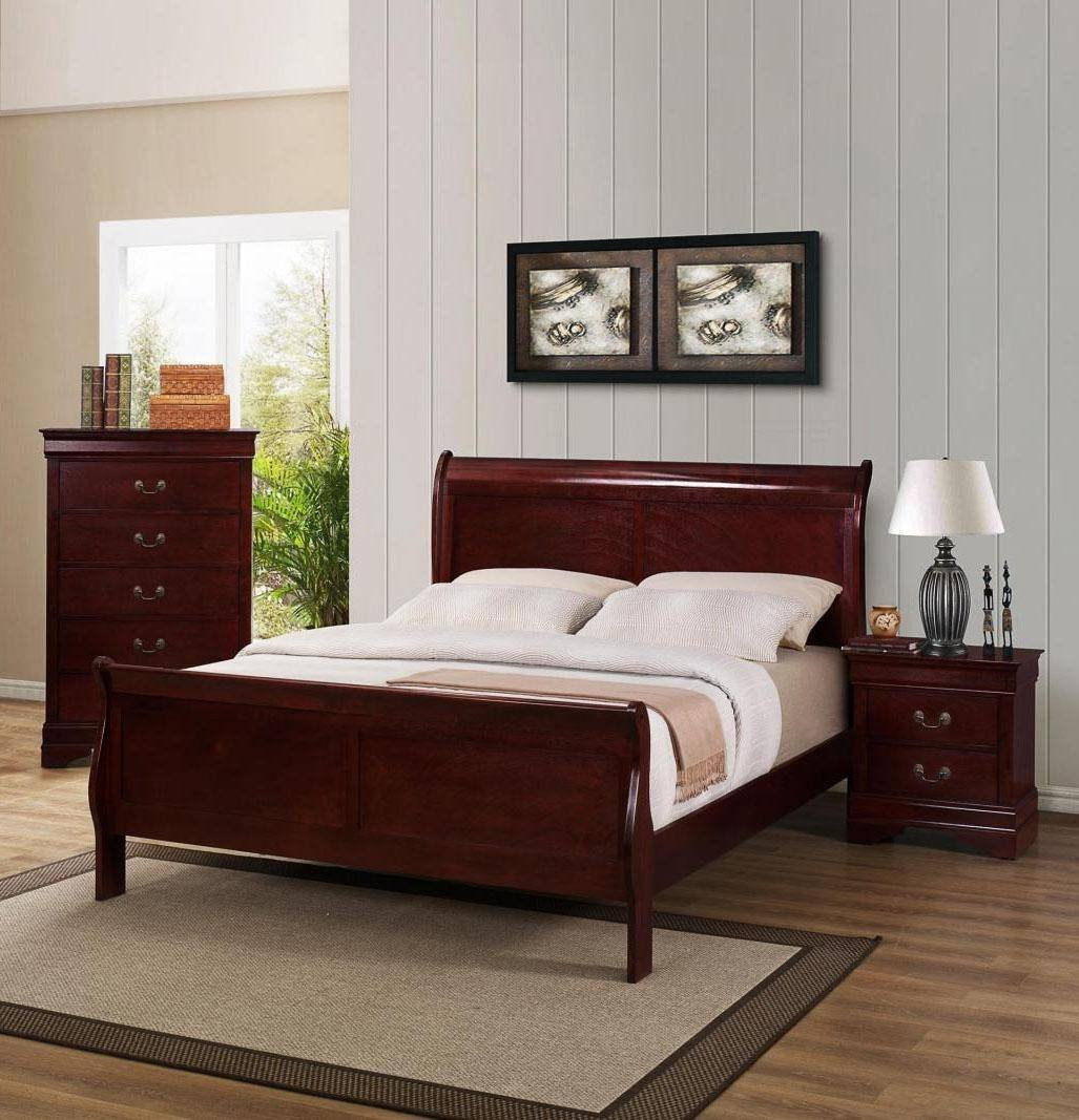3 Pice Bedroom Set Elegant Crown Mark B3800 Louis Philip Modern Cherry Finish Queen