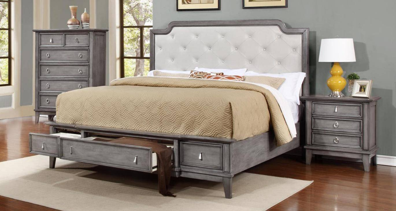 3 Pice Bedroom Set Lovely soflex Emmalee Grey button Tufted King Storage Bedroom Set