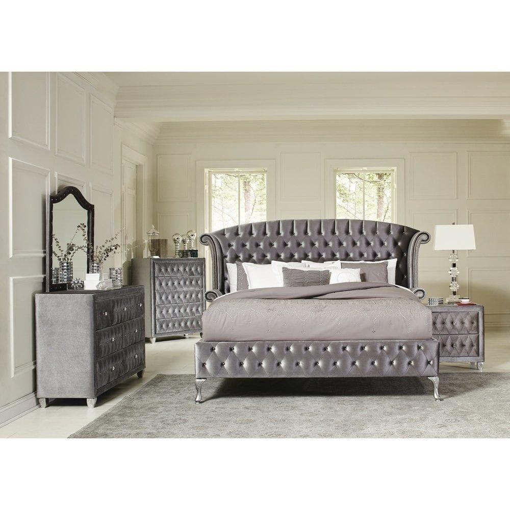 4 Piece Bedroom Set Best Of Deanna Bedroom Traditional Metallic Silver 4 Piece Bedroom