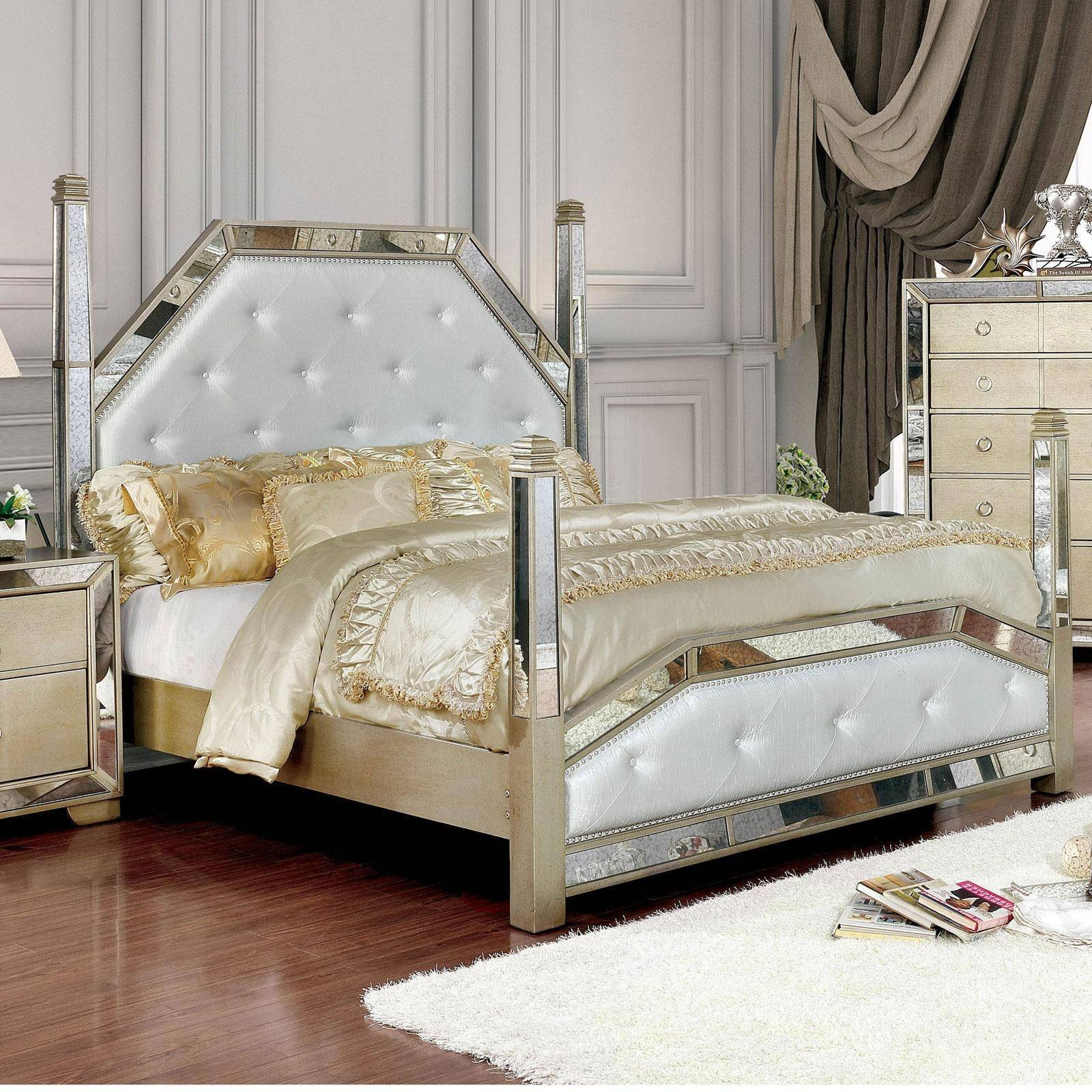4 Poster Bedroom Set New Modern Wood King Poster Bed In Gray Loraine by Furniture Of America