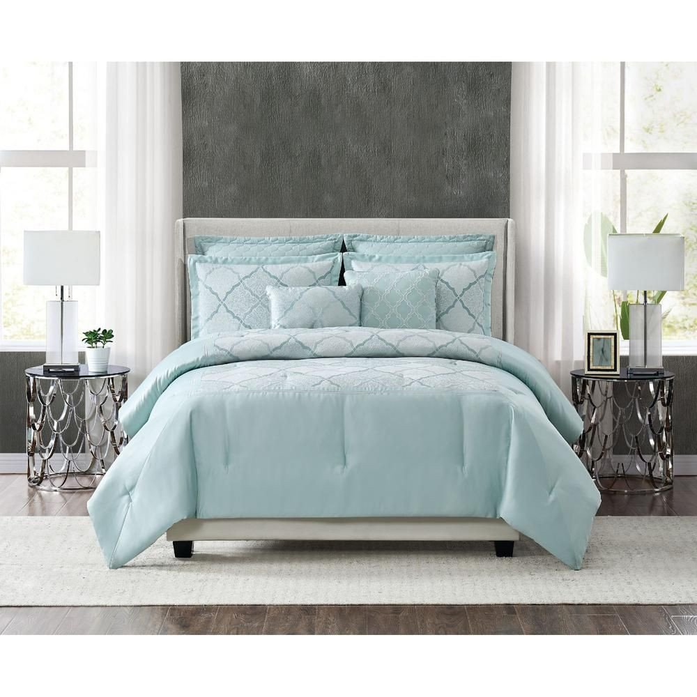 7 Piece Bedroom Set Awesome Fifth Avenue Lux Roya 7 Piece Light Blue Queen forter Set