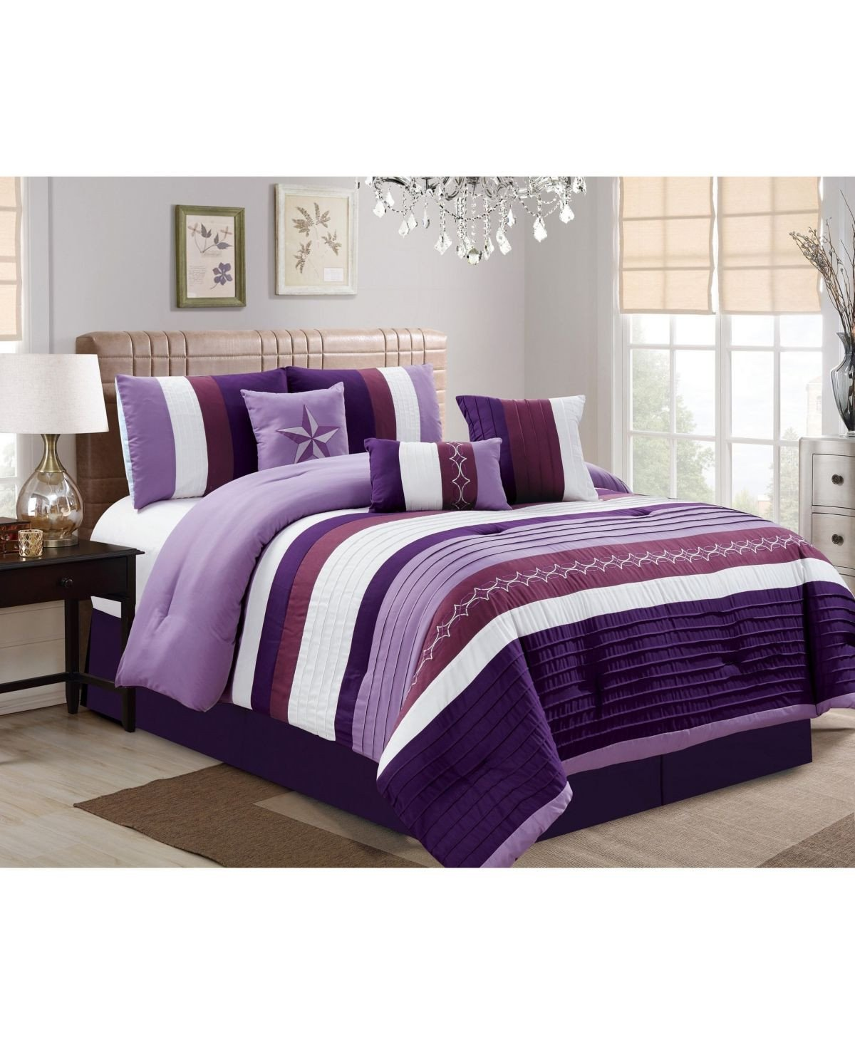 7 Piece Bedroom Set Fresh Luxlen Fulgham 7 Piece forter Set Cal King Purple
