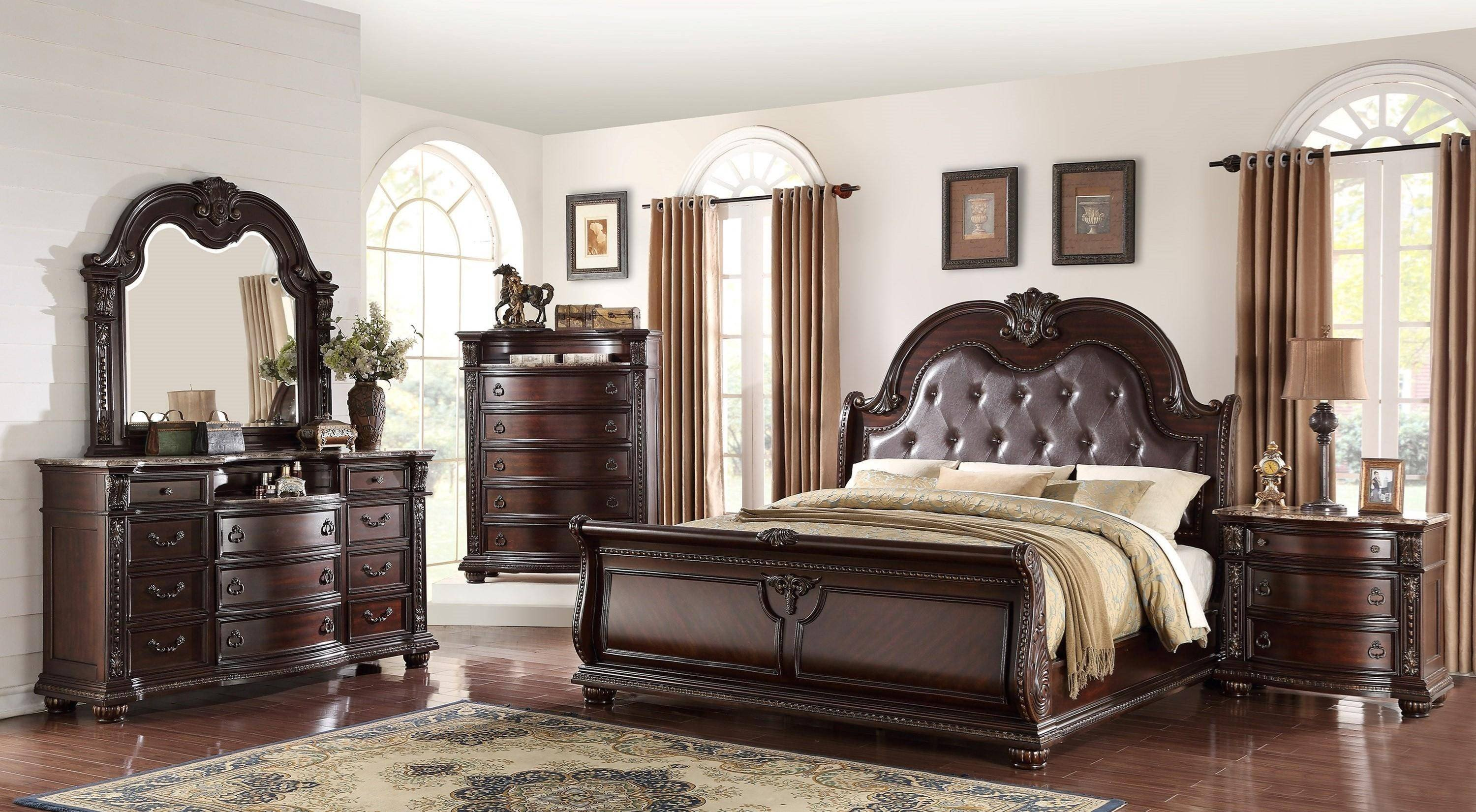 7 Piece Bedroom Set King Awesome Crown Mark B1600 Stanley Cherry Finish solid Wood King