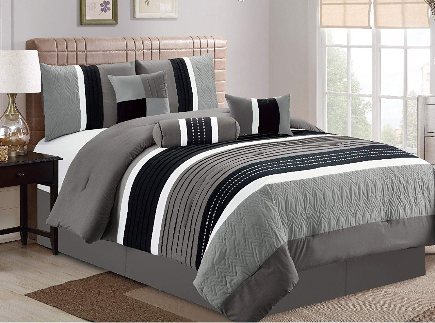 7 Piece Bedroom Set King Luxury Esca 7 Piece Closeout Luxury Bed In Bag forter Set Queen Grey
