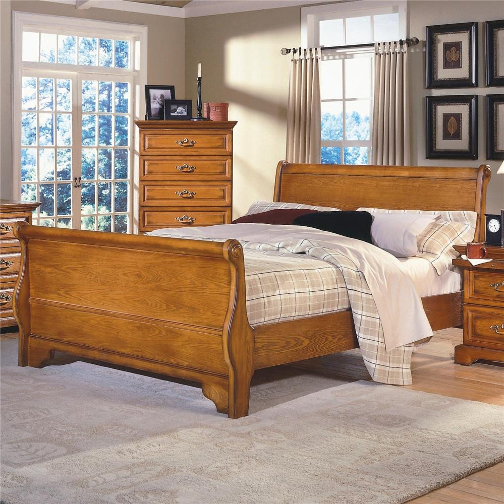 7 Piece Bedroom Set King Luxury New Classic Honey Creek Queen Oak Sleigh Bed
