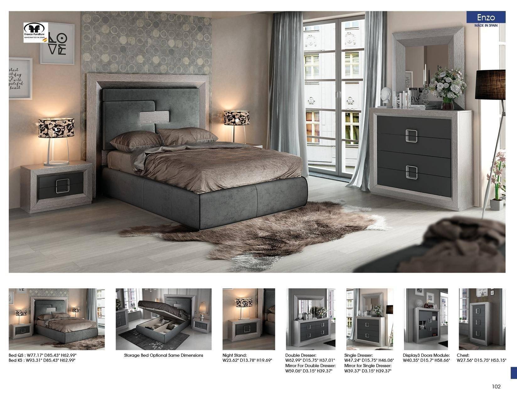 7 Piece Bedroom Set Luxury Esf Enzo King Platform Bedroom Set 5 Pcs In Gray Fabric