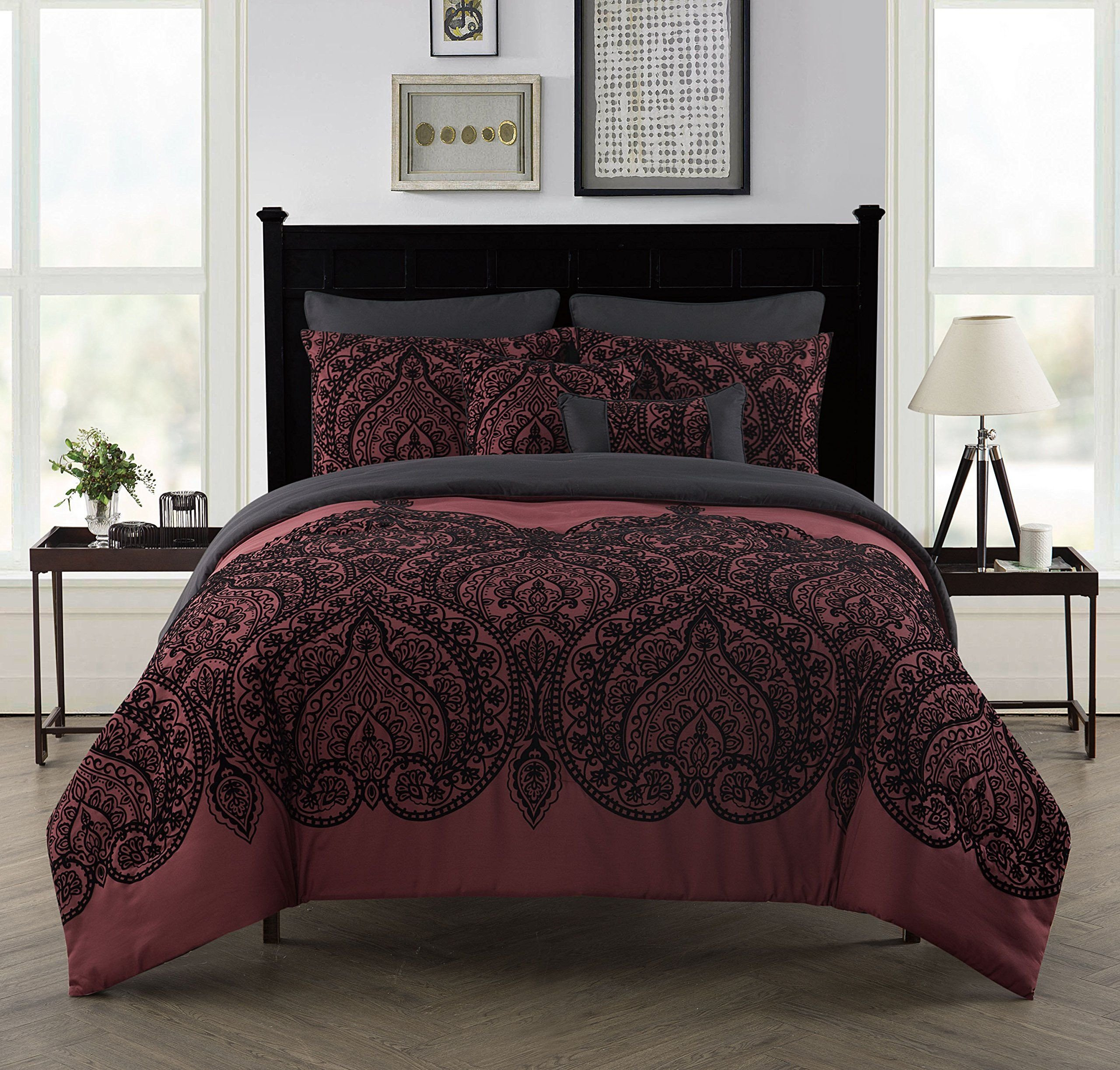 7 Piece Bedroom Set Queen Best Of Flocked Paisley 7 Piece forter Set by Vcny Home Full