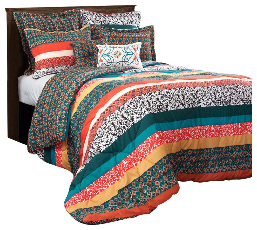 7 Piece Bedroom Set Queen Unique Boho Stripe forters Turquoise Tangerine 7 Piece Set Full Queen
