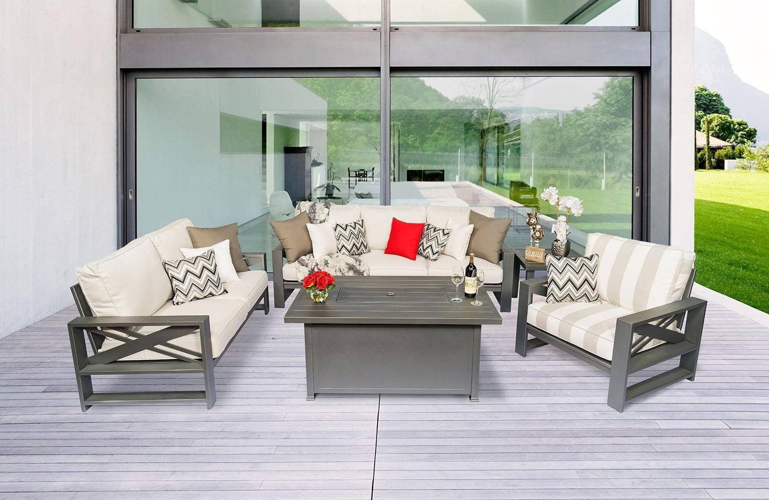 Accent Chairs for Bedroom Beautiful Jolee Aluminum Frame sofa Set & Firepit 4pcs W Sunbrella