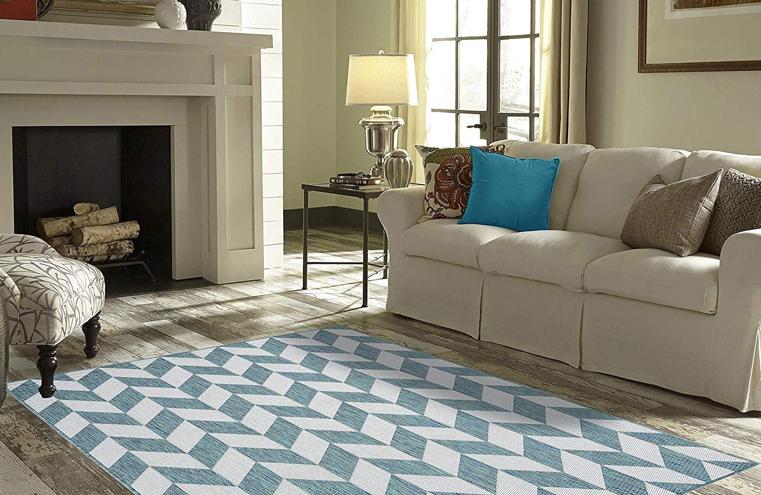 "Accent Rugs for Bedroom Unique Priyate Florida Collection All Weather Indoor Outdoor Geometric Triangle Rug for Living Room Bedroom and Dining Room 5 3"" X 7 6"" Ocean"