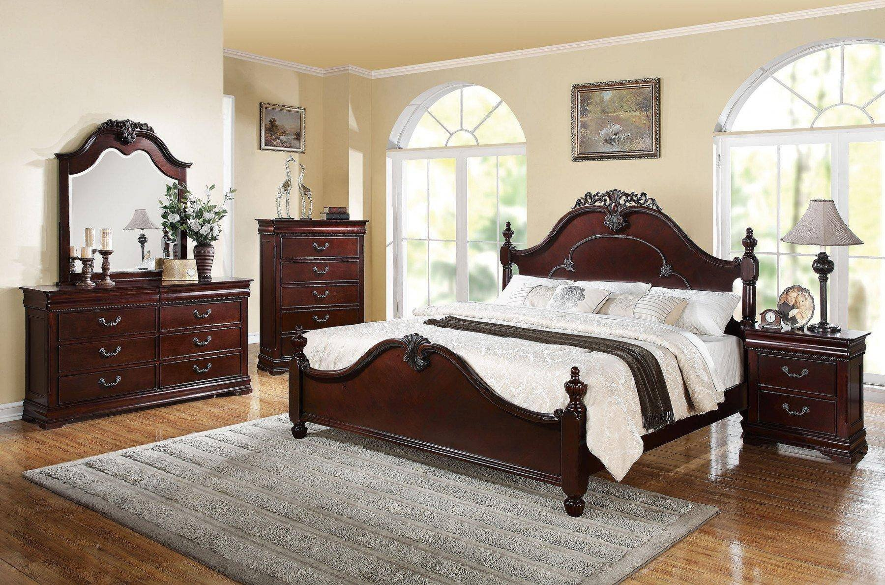 Acme Furniture Bedroom Set Beautiful Cherry Poster King Bedroom Set 5 Pcs Acme Furniture Ek