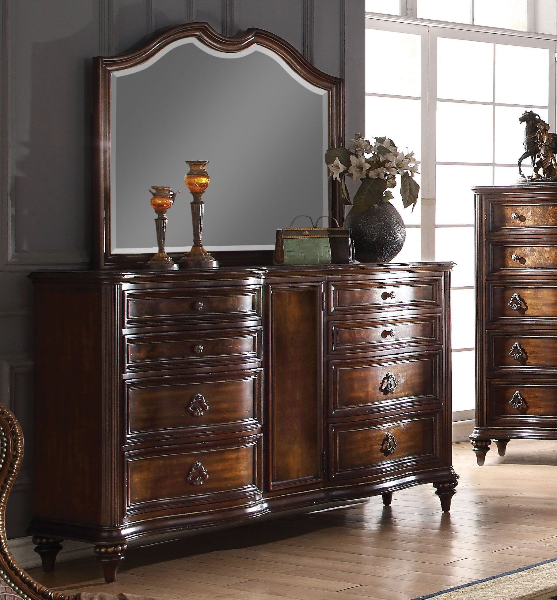 Acme Furniture Bedroom Set Elegant Acme Azis Dark Walnut Drawer Dresser and Mirror