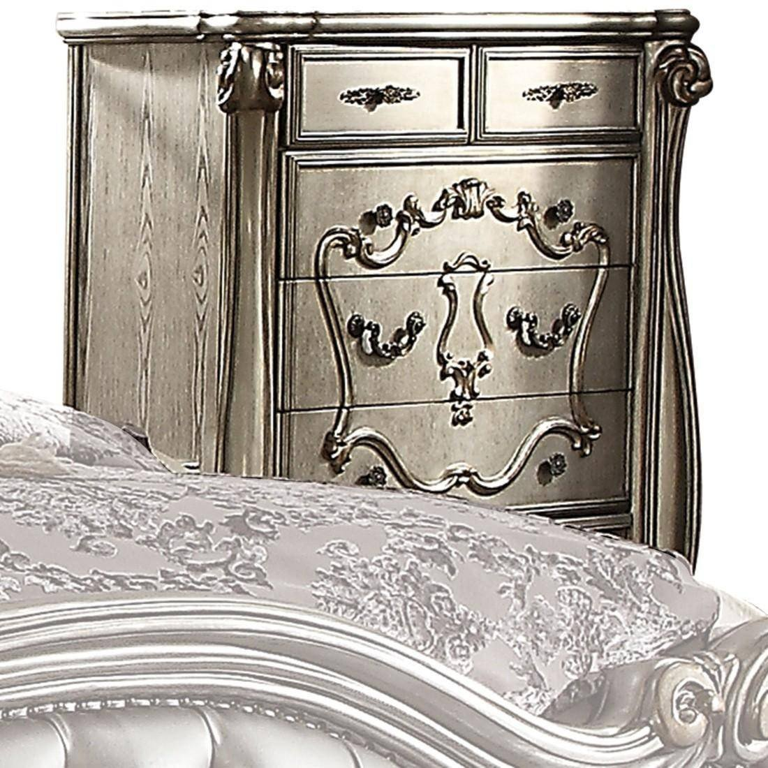 Acme Furniture Bedroom Set Elegant Silver Velvet Antique Platinum Queen Bedroom Set 5pcs