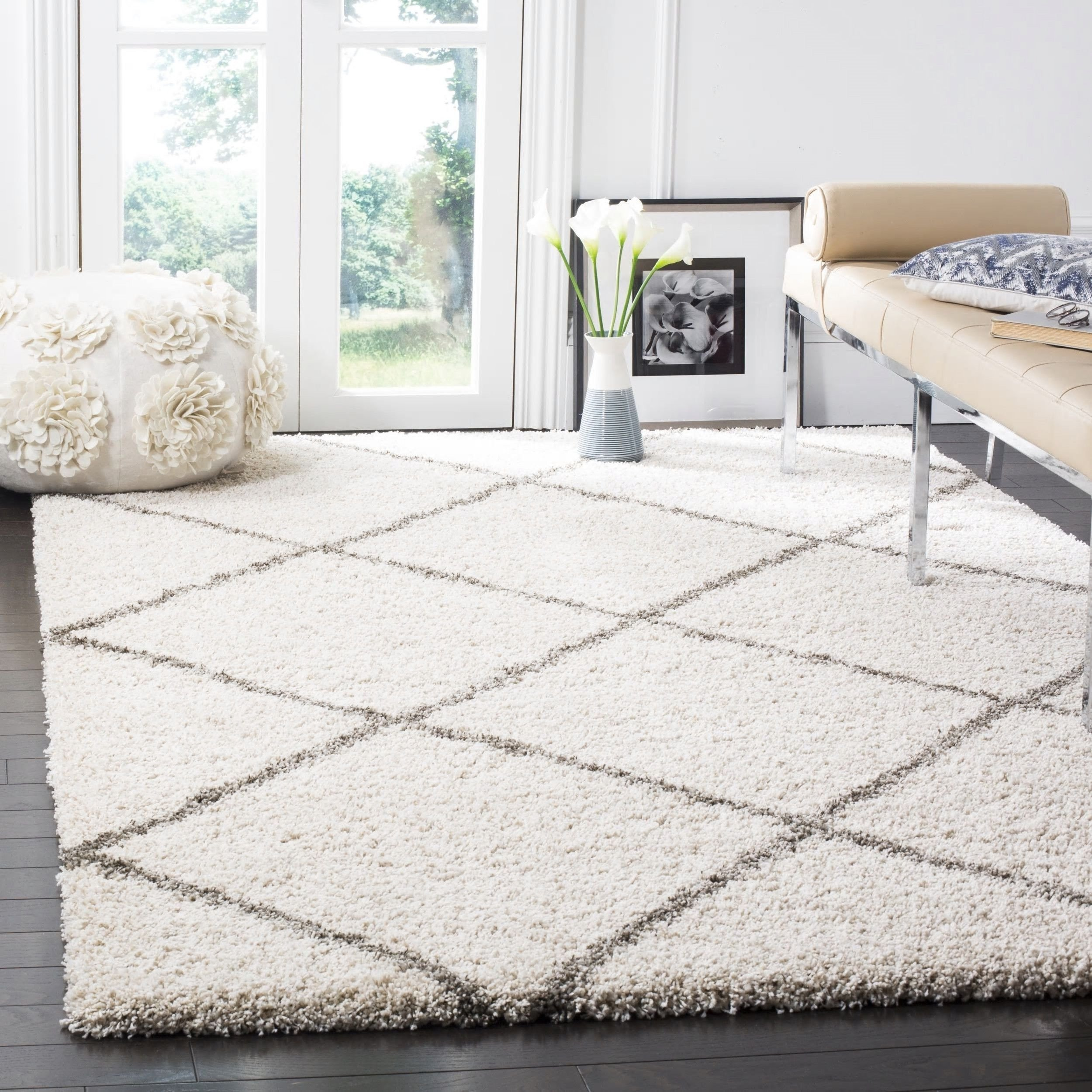 Area Rug for Bedroom Elegant Bohemian Trellis Ivory Shag area Rug