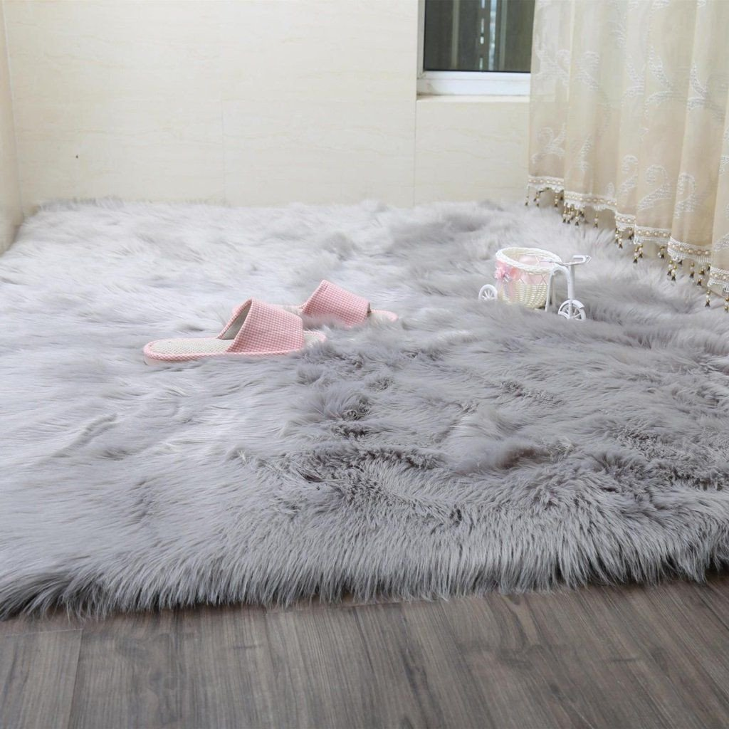 Area Rug for Bedroom Size Unique Faux Rug soft Fluffy Rug Shaggy Rugs Faux Sheepskin Rugs