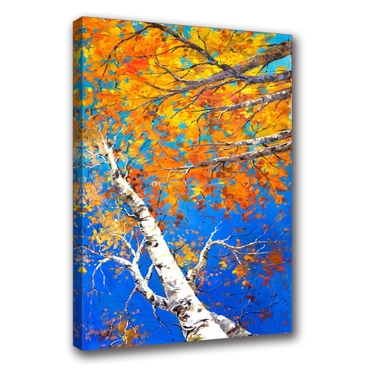 Arts for Bedroom Walls Elegant 2019 Hand Painted Oil Painting Canvas Impressionist Birch forest Picture Framed Painting Wall Art Living Room Bedroom Wall Decor From