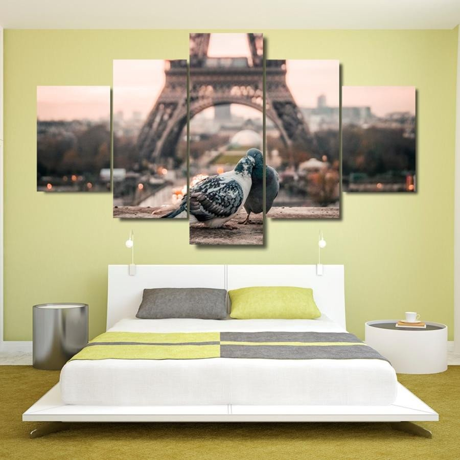 Artwork for Bedroom Wall Beautiful 5 Panel Paris Eiffel tower Romantic Doves Modern Decor Canvas Wall Art Hd Print
