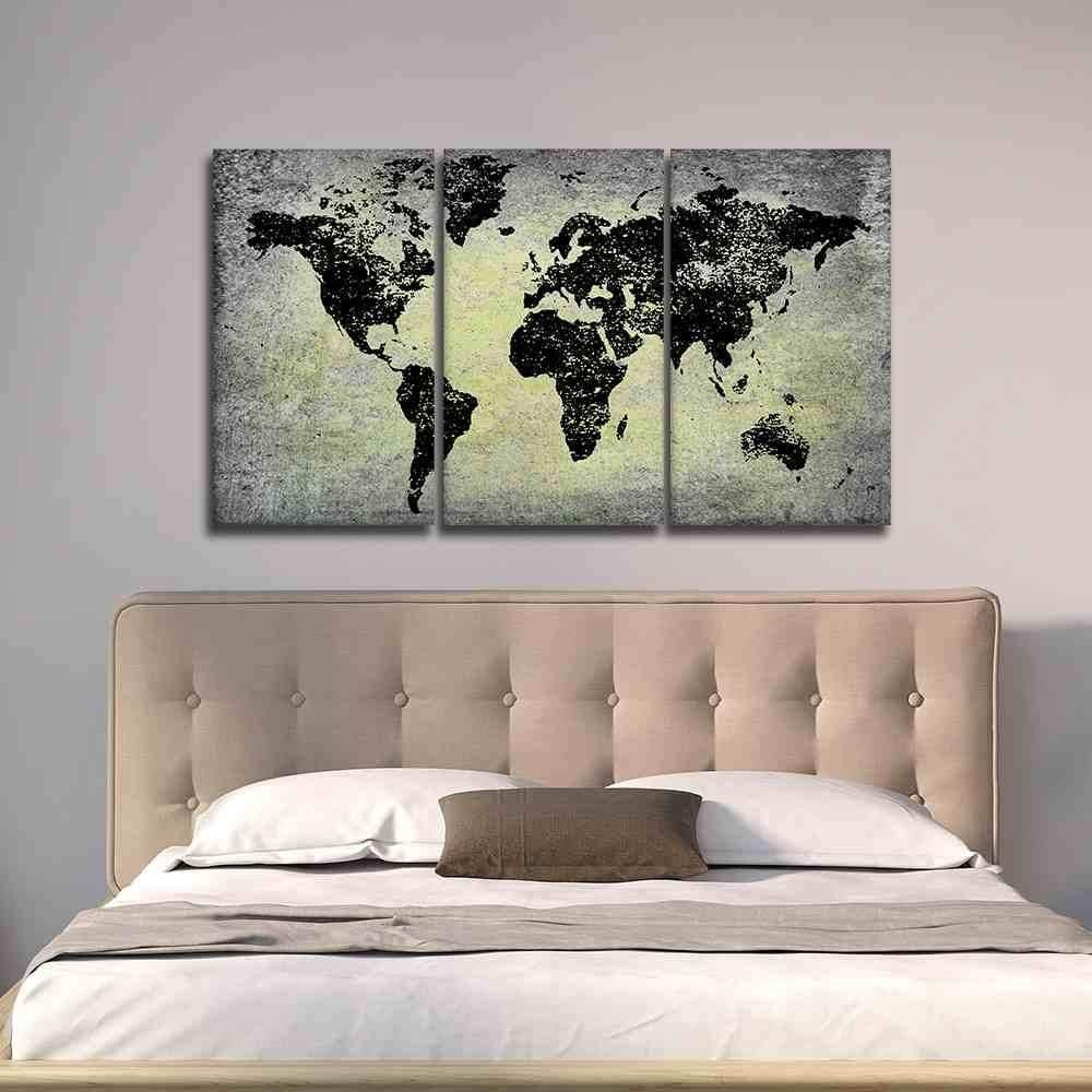Artwork for Bedroom Wall Beautiful Black World Map On Stone Like Print