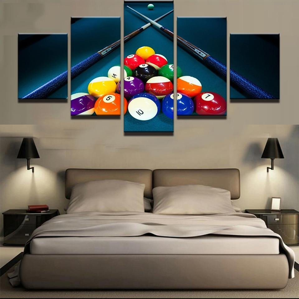 Artwork for Bedroom Wall Beautiful Pool & Billiards Cues & Balls Sports Framed 5 Piece Panel Canvas Wall Art Print