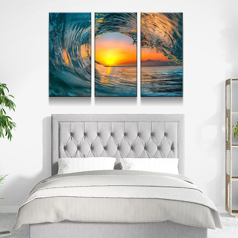 Artwork for Bedroom Wall New Wave Carve Limited Edition 3 Piece Wall Art Canvas