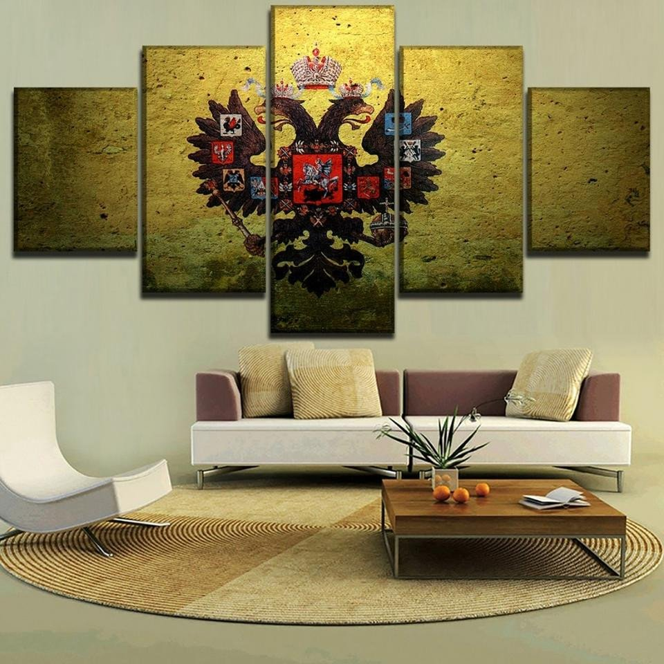 Artwork for Bedroom Walls Elegant 5 Panel Framed Russian Coat Of Arms Modern Décor Canvas Wall Art Hd Print