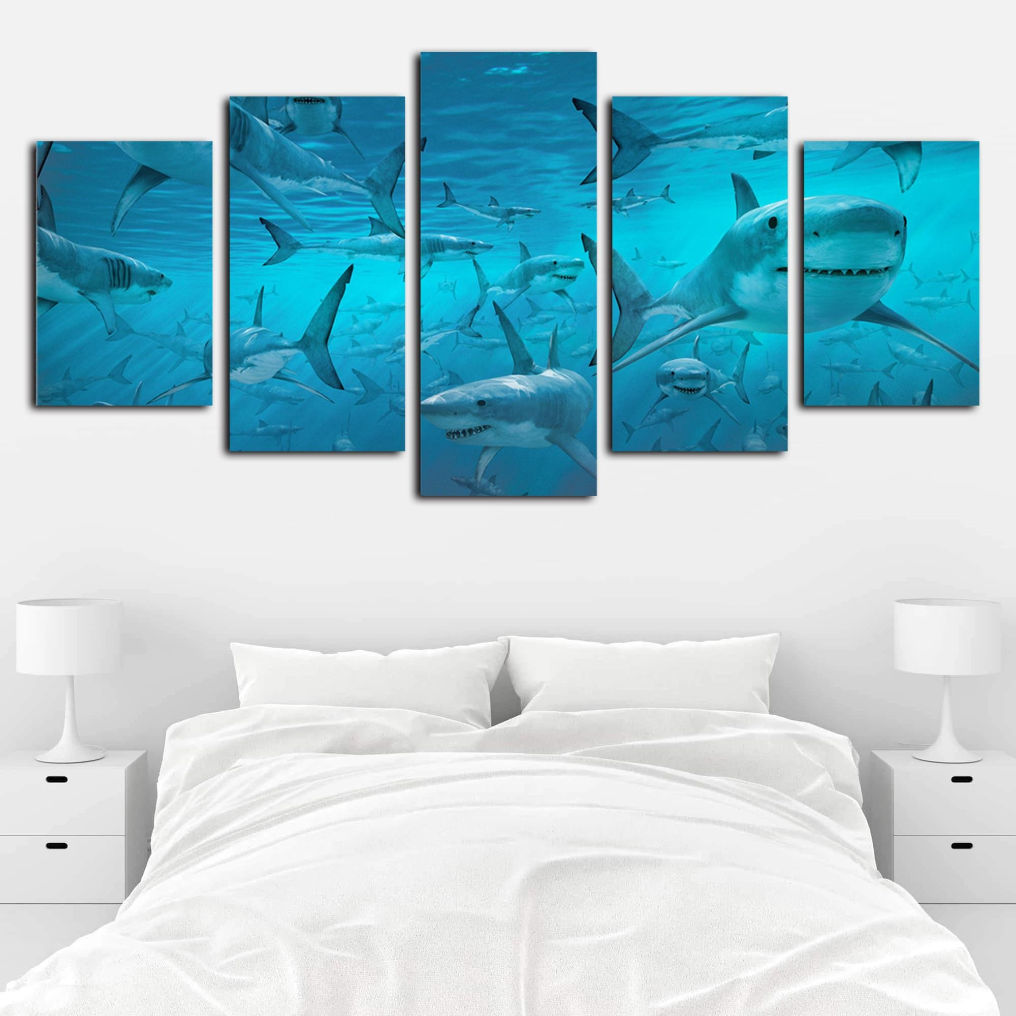 Artwork for Bedroom Walls Inspirational 2019 Modern Giclee Canvas Print Artwork 5 Panels Blue Deep Sea Shark Swarm Picture Printed Canvas Wall Art for Home Fice From Home Textiles