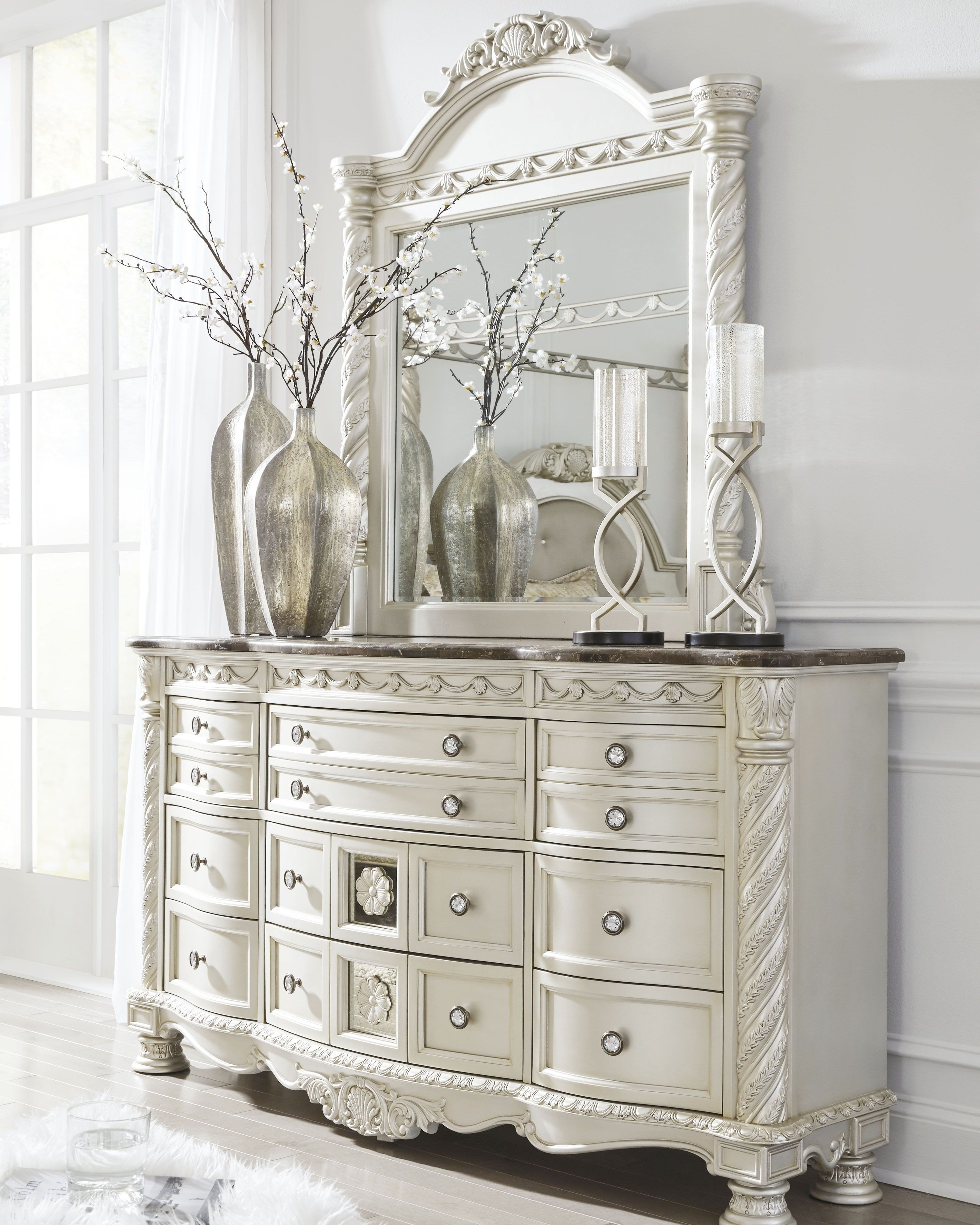 Ashley Catalina Bedroom Set Elegant Cassimore Dresser and Mirror Pearl Silver Dark Brown