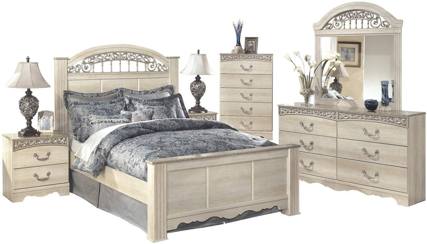 Ashley Catalina Bedroom Set Lovely Catalina 6 Pc Queen Poster Bedroom Set W 2 Nightstand & Chest ashley In Vintage Ivory
