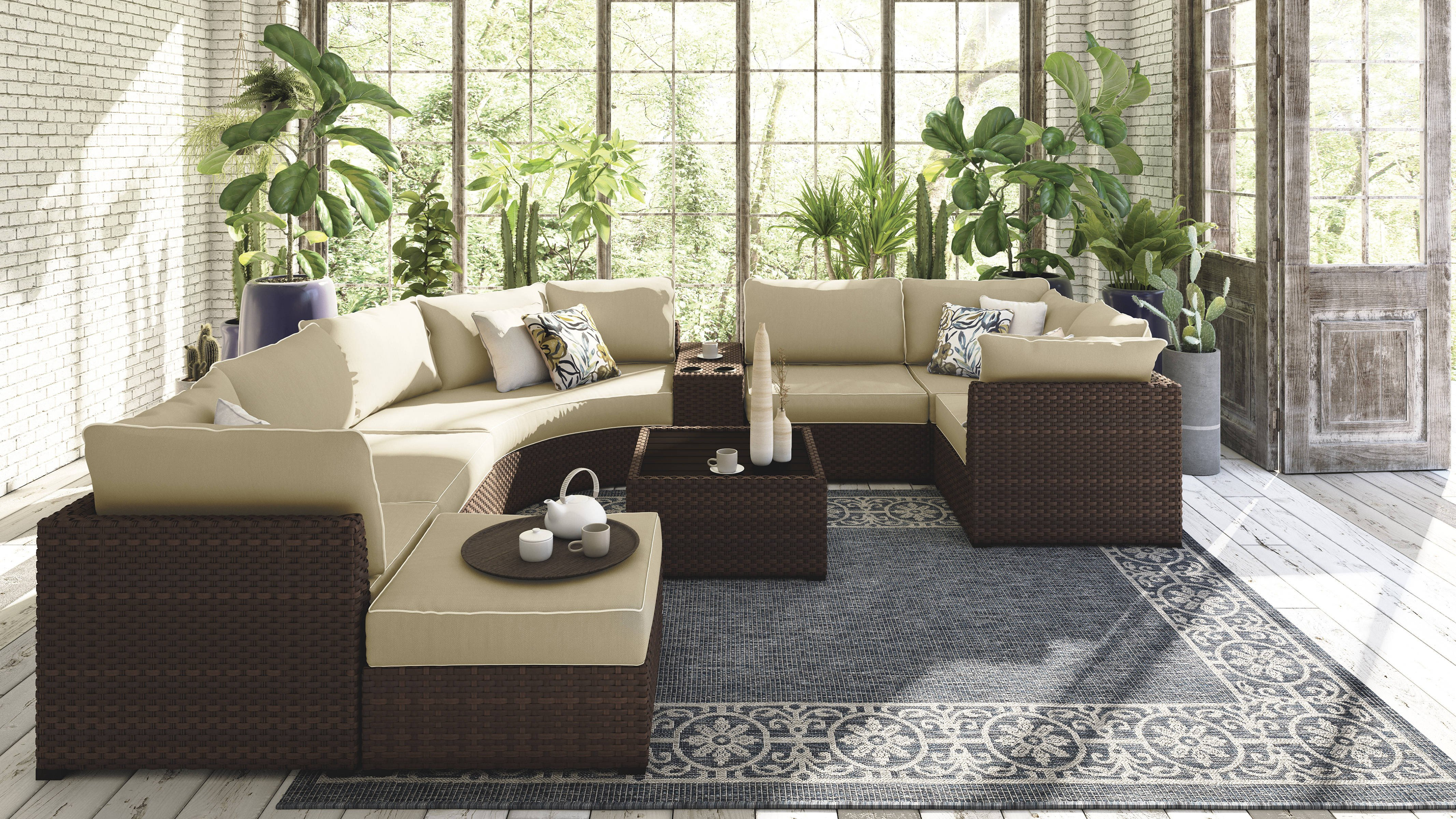 Ashley Furniture Kids Bedroom New ashley Furniture Spring Ridge Beige 9pc Outdoor Sectional