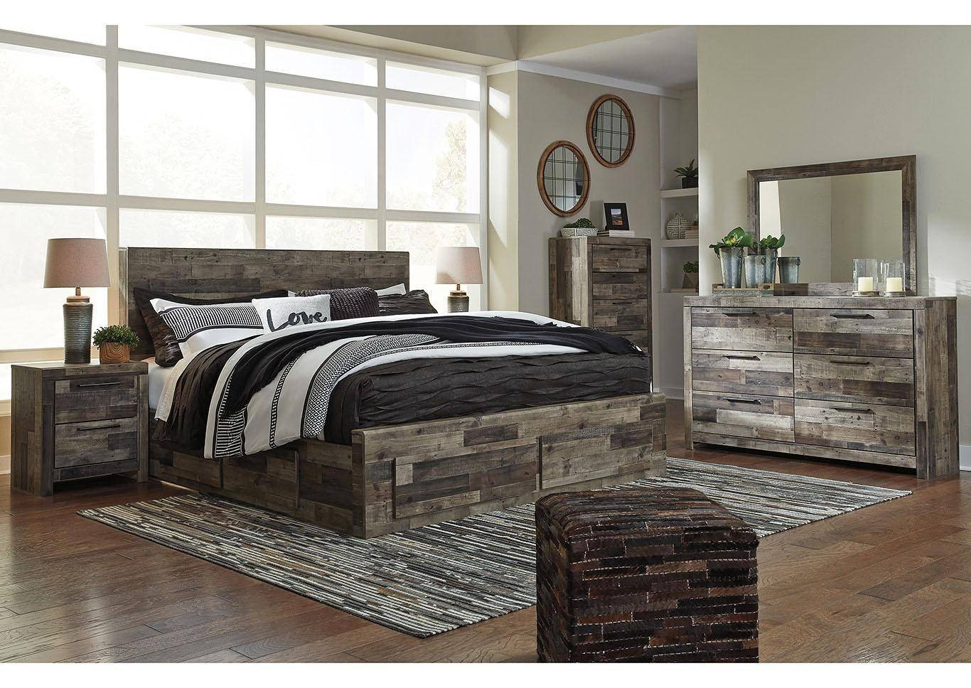 Ashley King Size Bedroom Set Inspirational ashley Derekson King Storage Bedroom Set 6 Pcs In Multi Gray Wood