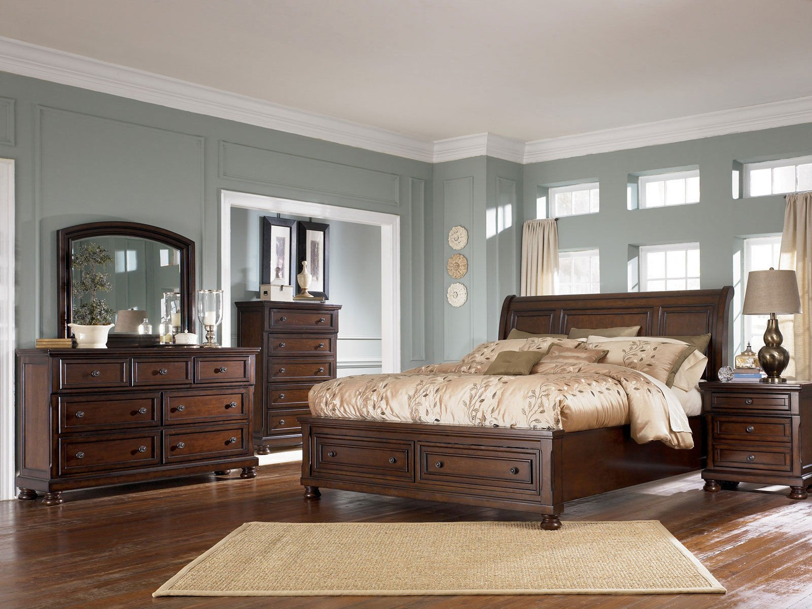 Ashley Millennium Bedroom Set Beautiful Bedroom Royal Queen Sleigh Bed Frame with Elegant Creative