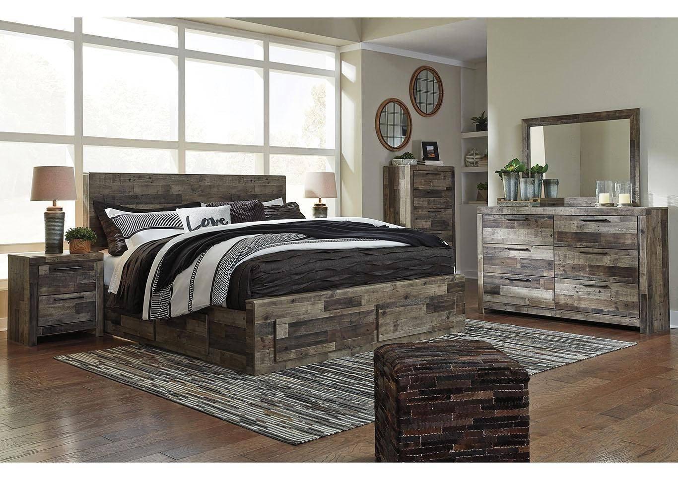 Ashley White Bedroom Set Best Of ashley Derekson King Storage Bedroom Set 6 Pcs In Multi Gray Wood